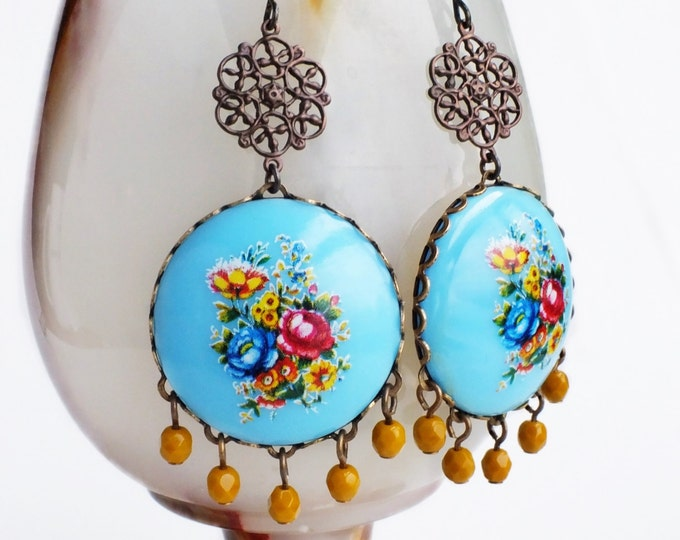 Chunky Blue Floral Earrings Extra Large Chandelier Earrings Light Blue Mustard Vintage Flower Cameos Chunky Floral Statement Jewelry