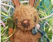 Primitive Mohair Bunny Rabbit Spring Tuck Doll Cinnamon