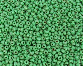 8/0 Opaque Green Picasso Czech Glass Seed Beads 10 Grams (CS293) SE