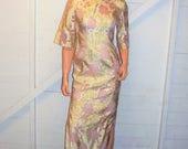 Vintage Gold Metallic Traditional Asian Cheongsam Dress S