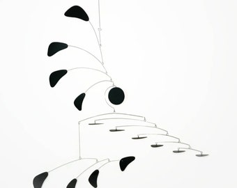 Modern Mobile in Black Perfect For A Tall Cathedral or Vaulted Ceiling - Large Mobile with Horizontal and Vertical Pieces Arrow Style