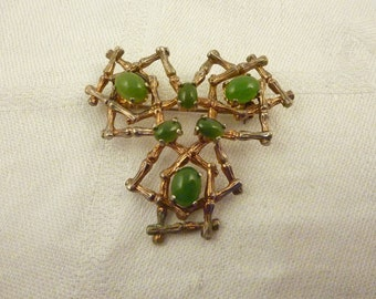 Vintage Alice Caviness Sterling Silver Aventurine Bamboo Crosshatch Brooch