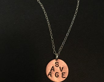 SAVAGE Necklace - Like a Boss, Beast Mode, Mean Girl, Gift for Athletes, Disc Necklace, Stamped Charm, Bitch