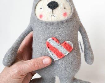 Grey Stuffed Animal Dog Upcycled Sweater Repurposed