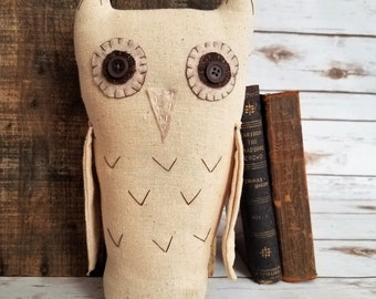 A Thoughtful Owl, Primitive Folk Art Woodland Shelf Sitter Art Doll Spooky Gothic Halloween Decor