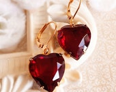 Heart Earrings - Red - Valentines Gift - Ruby - HEARTSONG Ruby