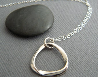 sterling silver mobius strip necklace small math mathematical sculpture geometric dainty delicate simple modern jewelry contemporary 3/4""