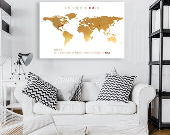 Wanderlust print world map print personalized state to state travel art Anniversary Gift Map Canvas Print Any Location Worldwide Custom Map