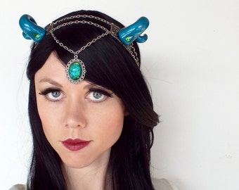 Fantasy Dragon Headdress in Blue and Silver