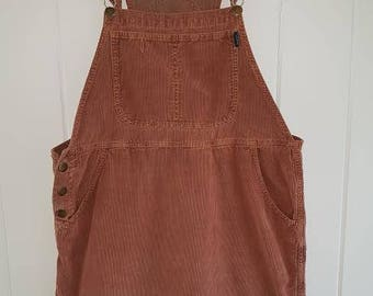 Vintage Brown Corduroy Overalls Coveralls Dress by Poot, Size M / Medium