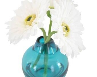 White Gerbera Daisy in Teal Globe Vase