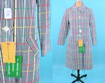 1960s stripe trench | NWT rainbow striped mod vintage water repellent rain coat | vintage 60s trench