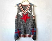 Artsy Sweater Vest Star Applique Red White Blue Top Upcycled Clothing Women's Long Tunic Grey Hipster Sweater Funky Knit Shirt S M 'CAROLINE