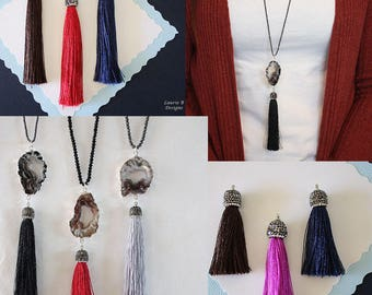Tassel Necklace with Geode Slice Necklace, Druzy Silver, Double sided, BoHo Necklace, Crystal Necklace, Tassel, Natural, Rock, TASSGEO14