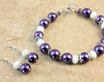 Purple Glass Pearl Bracelet and Earrings with White Glass Crystals and Rhinestone Rondelles Wedding Jewelry