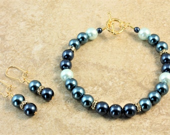 Shades of Blue Glass Pearl Gold Wedding Bracelet and Earrings Set Bridal Bridesmaid Bride