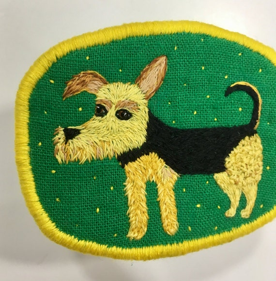 Textile Dog Brooch with Welsh Terrier -  Funny Dogs - collection, hand embroidered textile jewelry, pet portrait brooch