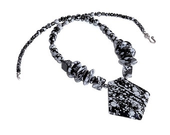 Snowflake Obsidian Statement Necklace (Item U 80)