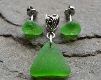 Genuine Sea Glass Spring Green Sterling Silver Pendant & Stud Earrings Set - Triangles