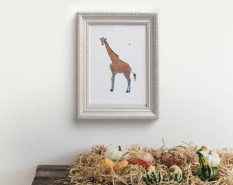 Happy Giraffe Print Giclee Print Home Decor Animal Art Print Nursery Kids