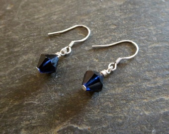 Blue Earrings Drop Dainty Modern Stylish Everyday Simple Office Appropriate Accessories For Ladies Swaroski Crystal Shinny Thank You Gift