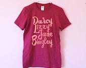 Pride and Prejudice characters t shirt women's sizes XS-XL Darcy Lizzy Jane Bingley Jane Austen