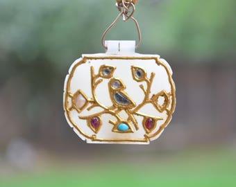 17th Century Jade 24K Yellow Gold & Precious Stone Pendant
