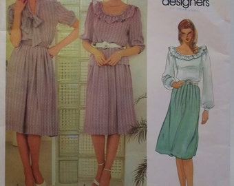 Vintage 80's Vogue 2715 Sewing Pattern, Full Flared Skirt, High Fashion Loose Fit Blouse with Ruffled Neckline, A Line Skirt Size 8 UNCUT