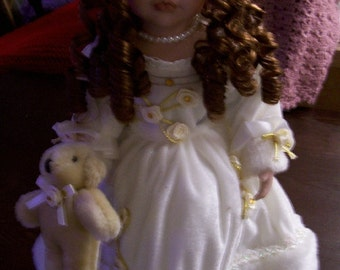 Vintage Doll in White Velveteen  Outfit