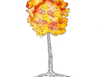 Tree Of Life 2 Watercolor Art Print On Cardstock