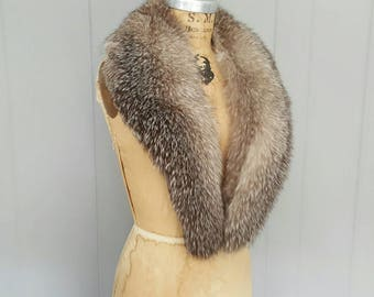 Fox Fur LARGE Collar Wrap / Stole Cape / Silver Fox / Bridal Wedding