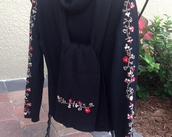Cotton Rib Knit Turtleneck Sweater Black with Matching Scarf Embroidered Detail on Arms Vintage