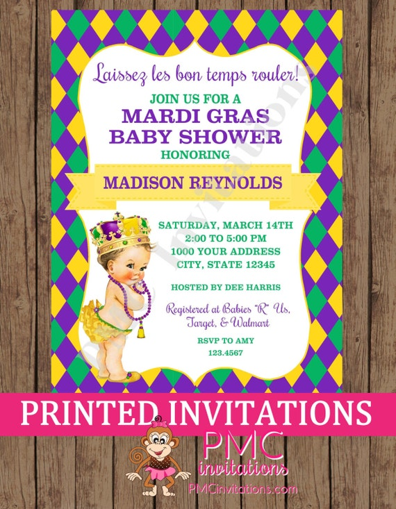 custom printed vintage antique mardi gras baby shower invitations