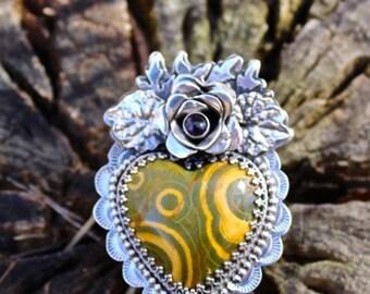 Reserved for Sandra********Ocean Jasper Sacred Heart Ring