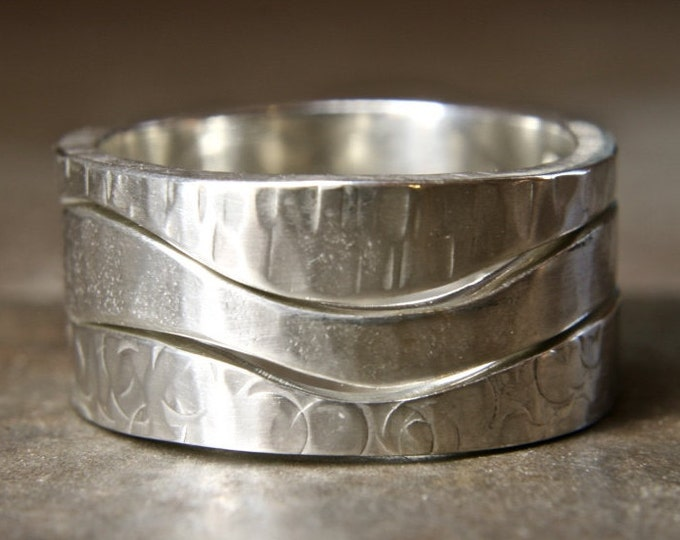 Walk On The Hills curvy linking three ring set. Recycled sterling silver. Hand made in the UK.
