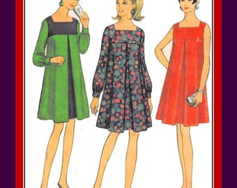 Vintage 1967-MOD TRAPEZE DRESS-Sewing Pattern-Three Styles-Inverted Pleat-Long Sleeves orSleeveless-Contrast Fabrics-Size 3-5-Rare