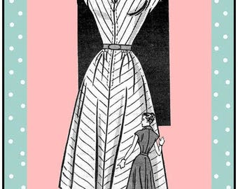 Vintage 1950s-HAPPY HOUSEWIFERY DRESS-Mail Order Sewing Pattern-Wing Collar-Long Front Zipper-Flirty Full Circle Skirt-Belt-Size 14-Rare