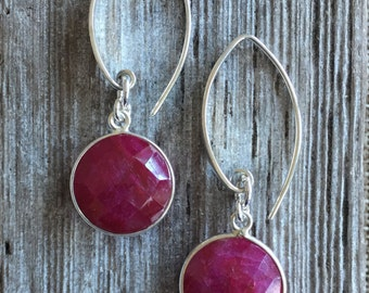Ruby Bezel Set Sterling Silver Earrings