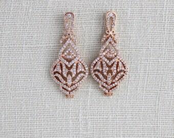 Rose Gold Bridal earrings, Rose Gold earrings, Wedding jewelry, Crystal Wedding earrings, Swarovski earrings, Simple earrings, Bridesmaids