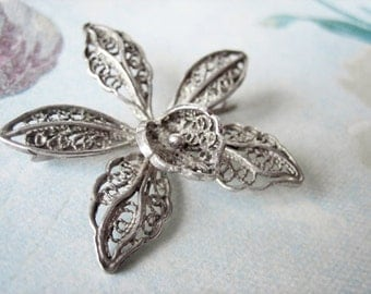 Antique French silver flower brooch, Antique orchid flower brooch, Antique filigree flower brooch, Antique flower pin, Orchid pin