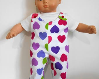 "Cotton interlock knit overalls fit 15"" dolls like Bitty Baby"