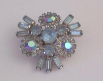 Vintage Blue Rhinestone Brooch or Pin