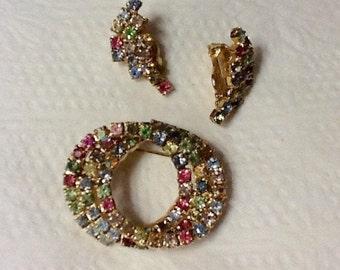 Vintage Rhinestone Earrings and Brooch Set