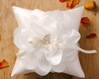 Ivory wedding ring pillow with oversized flower - Laura