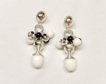 vintage earrings/silver black white/big and bold/vintage jewelry/vintage earrings/wedding