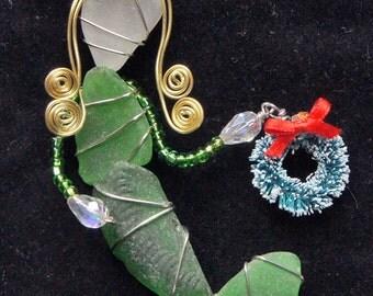 Sea Glass Mermaid Suncatcher Christmas Ornament or Suncatcher