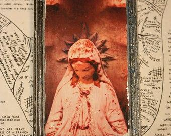 Rose, Virgin, Mary, Statue, Original, Miniature, Art, Peach, Rectangle, Wood, Icon, Silver, Wall Decor