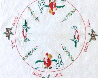 Scandinavian Linen Tablecloth God Jul Embroidery Father Christmas