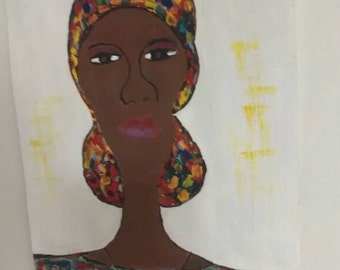 black woman art,headcovering, natural,african art,headwrap, african american art,african american painting