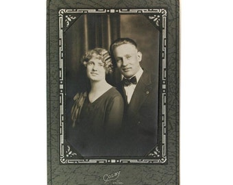 Old Photo, Vintage Photograph, Sepia Tone Photo, Man and Woman, Happy Couple, Engagement Photo, Photo in Holder, Black and White